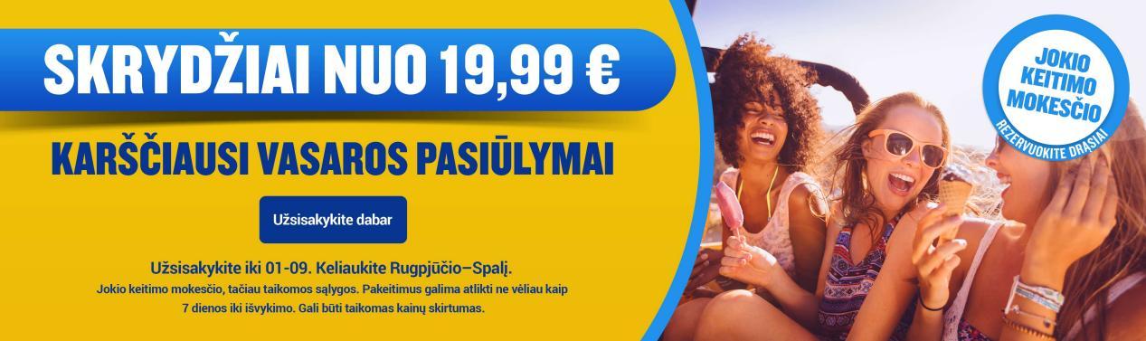 Pigūs skrydžiai su Ryanair nuo 7.99€!